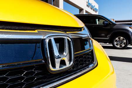 Indianapolis - Circa March 2018: Honda Motor Co. Logo and Sign. Honda Manufacturers Among the Most Reliable Cars in the World III