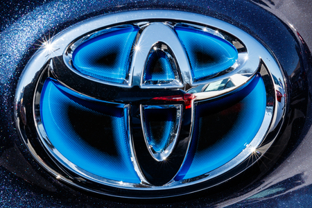 Indianapolis - Circa March 2018: Toyota blue hybrid vehicle logo and badge. Toyota is a high quality Japanese auto manufacturer III Editorial