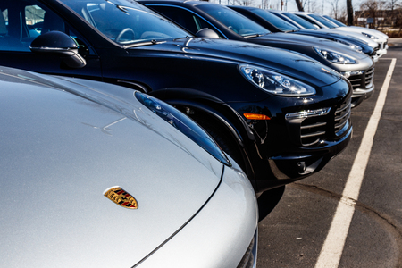 Indianapolis - Circa March 2018: Local Porsche Dealership displaying new SUVs. Porsche Racing dates to the 1950s I