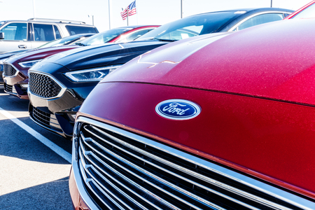 Indianapolis - Circa March 2018: A Local Ford Car and Truck Dealership. Ford sells products under the Lincoln and Motorcraft brands I Editorial