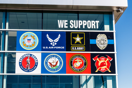 Indianapolis - Circa March 2018: A sign showing support for the US Armed Services including Navy, Army, Air Force, Marines, Police and Fire Departments I Editorial