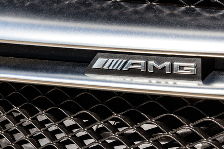 Indianapolis - Circa March 2018: Badge of an AMG Mercedes-Benz. Mercedes-Benz is a global automobile manufacturer and a division of Daimler AG III