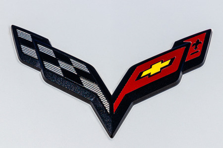 Indianapolis - Circa March 2018: Chevrolet Corvette Emblem at a Chevy Dealership. Chevrolet is a Division of General Motors IV Editorial