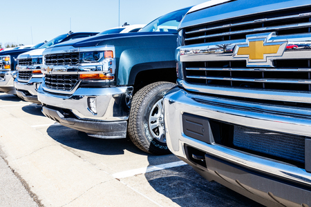 Indianapolis - Circa March 2018: Chevrolet Trucks at a Chevy Dealership. Chevrolet is a Division of General Motors V