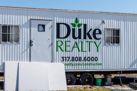 Whitestown - Circa March 2018: Duke Realty construction trailer. Duke Realty develops, builds and manages facilities up to 1.2 million square feet I