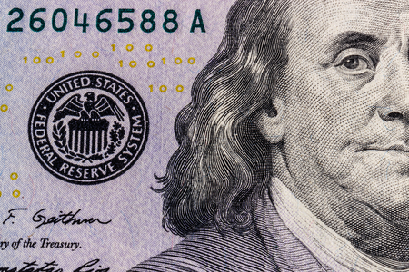Closeup of Ben Franklin on a one hundred dollar bill for background