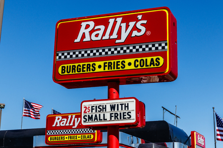 Kokomo - Circa March 2018: Local Rallys Drive Thru fast food restaurant. Rallys is the sister of Checkers I