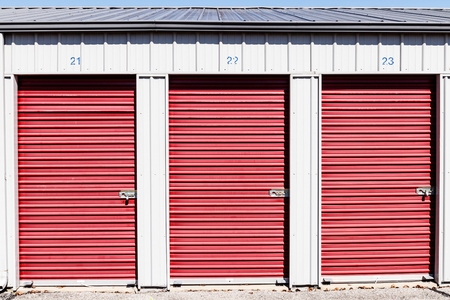 Numbered self storage and mini storage garage units IX Stock fotó