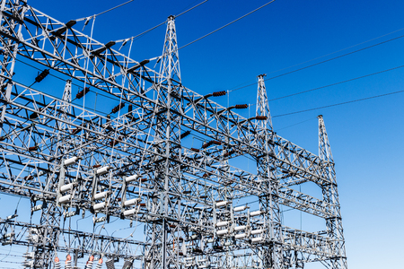 Dangerous High Voltage Electrical Power Substation VII Stock Photo