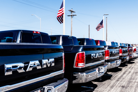 Noblesville - Circa March 2018: Ram Truck Dealership. Ram is a subsidiary of Fiat Chrysler Automobiles. FCA is the parent company of Dodge, Chrysler, and Jeep II Editorial