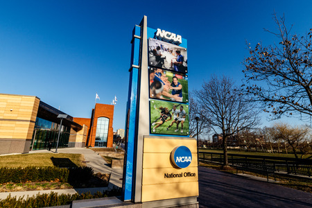 Indianapolis - Circa March 2018: National Collegiate Athletic Association Headquarters. The NCAA regulates athletic programs of many colleges and universities II