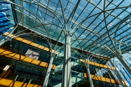 Indianapolis - Circa March 2018: Glass encased Atrium at the Indianapolis Central Library. The 10,000 square-foot, glass Atrium is the hub of the Central Library (Filter) II