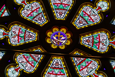 Indianapolis: Circa March 2018: The Rose Window at the Sacred Heart Catholic Church. This Parish was established in 1875 V Editorial