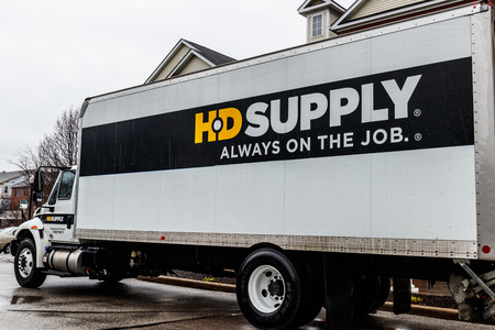 Indianapolis - Circa April 2018: HD Supply distributor truck. HD Supply is one of the largest industrial distributors in North America III