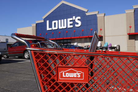 Greenville - Circa April 2018: Lowes Home Improvement Warehouse. Lowes operates retail home improvement and appliance stores in North America I
