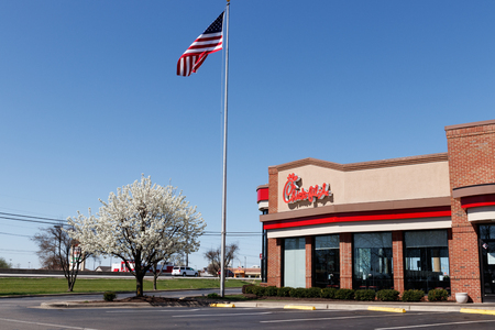 Lafayette - Circa April 2018: Chick-fil-A Retail Fast Food Location with American flag. Chick-fil-A Restaurants are Closed on Sundays II