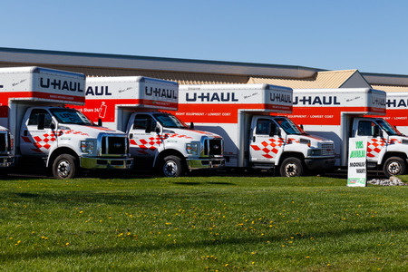 Lafayette - Circa April 2018: U-Haul Moving Truck Rental Location. U-Haul offers moving and storage solutions III