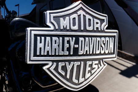 Lafayette - Circa April 2018: Emblem and Engine of a Harley Davidson. Harley Davidson Motorcycles are Known for Their Loyal Following IV