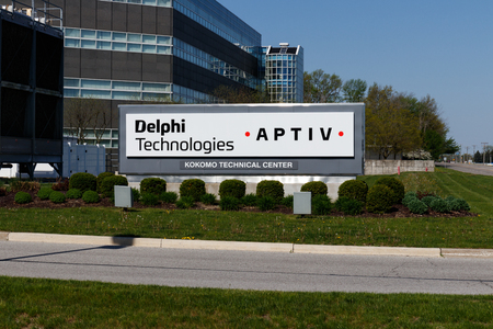 Kokomo - Circa May 2018: Delphi Automotive CTC Building. Delphi is now two companies: Delphi Technologies and Aptiv I 報道画像