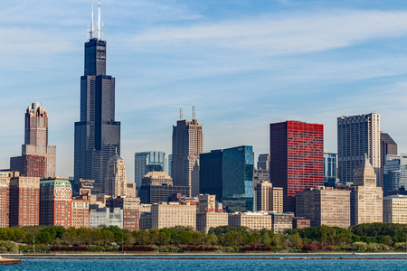 Chicago - Circa May 2018: Windy City downtown skyline from Lake Michigan on a sunny day. Chicago is home to the Cubs, Bears, Blackhawks and deep dish pizza II