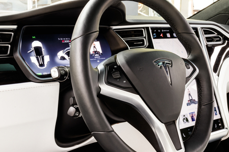 Chicago - Circa May 2018: Showroom Tesla Model X. Tesla designs and manufactures the Model X and S electric sedans VI Editorial