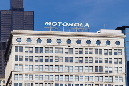 Chicago - Circa May 2018: Motorola Solutions logo atop the Railway Exchange Building. Motorola provides communications solutions for law enforcement and utility workers II Editorial