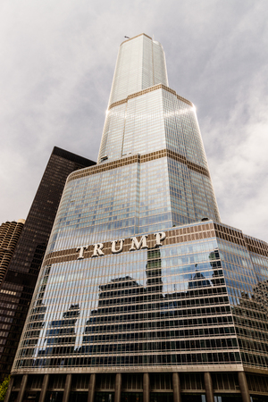 Chicago - Circa May 2018: Trump International Hotel and Tower Chicago. Named for developer Donald Trump, and reaches a height of 1,388 feet II Editorial
