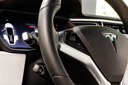 Chicago - Circa May 2018: Showroom Tesla Model X. Tesla designs and manufactures the Model X and S electric sedans V Editorial
