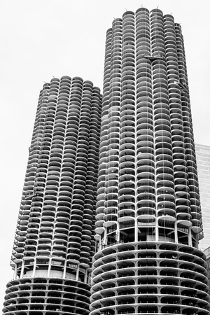 Chicago - Circa May 2018: The iconic Marina City towers in downtown. The towers have appeared on album covers, movies and television shows I
