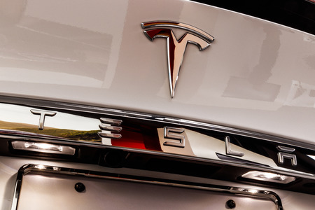 Chicago - Circa May 2018: Showroom Tesla Model X. Tesla designs and manufactures the Model X and S electric sedans IV