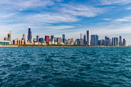 Chicago - Circa May 2018: Windy City downtown skyline from Lake Michigan on a sunny day. Chicago is home to the Cubs, Bears, Blackhawks and deep dish pizza III Editorial