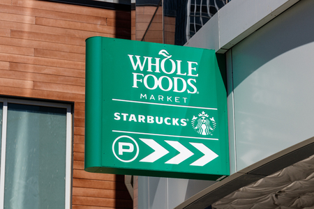 Indianapolis - Circa May 2018: Whole Foods Market. Amazon announced an agreement to buy Whole Foods for $13.7 billion I