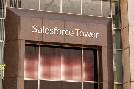 Indianapolis - Circa May 2018: The exterior of the Salesforce Tower. Salesforce.com is a cloud computing company and has added 800 new jobs to Indianapolis III Sajtókép
