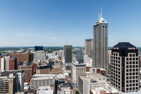 Indianapolis - Circa May 2018: Indianapolis Downtown Skyline on a Sunny Day including the Salesforce, BMO Harris, BankOne, and KeyBank towers III