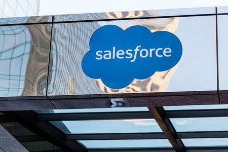 Indianapolis - Circa May 2018: The exterior of the Salesforce Tower. Salesforce.com is a cloud computing company and has added 800 new jobs to Indianapolis I