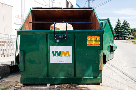 Kokomo - Circa May 2018: Waste Management dumpsters. Waste Management reported mixed first-quarter 2018 results I Editorial