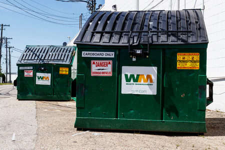 Kokomo - Circa May 2018: Waste Management dumpsters. Waste Management reported mixed first-quarter 2018 results II