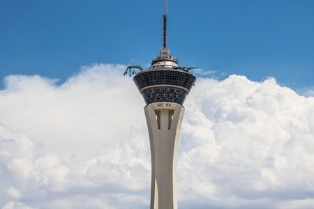 Las Vegas - Circa July 2017: Stratosphere Las Vegas, the tallest freestanding observation tower in the US in front of clouds and a blue sky III