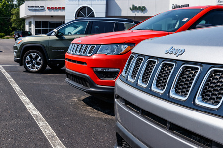 Logansport - Circa June 2018: Jeep Wrangler on display at a Chrysler Jeep dealership. The four subsidiaries of FCA are Chrysler, Dodge, Jeep and Ram Trucks VIII