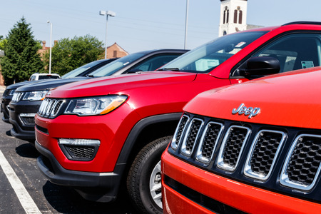 Logansport - Circa June 2018: Jeep Wrangler on display at a Chrysler Jeep dealership. The four subsidiaries of FCA are Chrysler, Dodge, Jeep and Ram Trucks VII