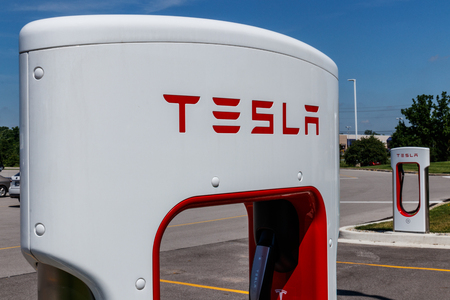Ft. Wayne - Circa June 2018: Tesla Supercharger Station. The Supercharger offers fast recharging of the Model S and Model X electric vehicles IX Editorial