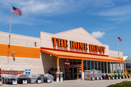 Ft. Wayne - Circa June 2018: Home Depot Location flying the American flag. Home Depot is the Largest Home Improvement Retailer in the US II