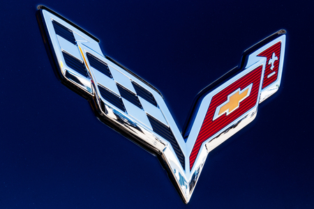 Indianapolis - Circa July 2018: Chevrolet Corvette Emblem at a Chevy Dealership. Chevrolet is a Division of General Motors