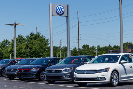Indianapolis - Circa July 2018: Volkswagen Cars and SUV Dealership. VW is Among the Worlds Largest Car Manufacturers X