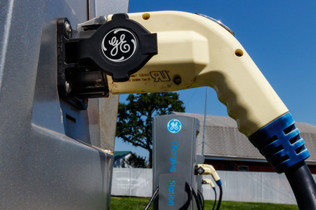 Lafayette - Circa July 2018: GE Electric Vehicle Charging Station. The General Electric charging station offers fast recharging of electric vehicles VII