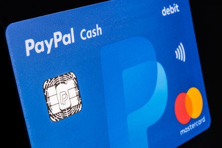 Indianapolis - Circa July 2018: PayPal Debit Cash card with MasterCard logo. PayPal offers a digital payment platform allowing online and mobile transactions II Editorial