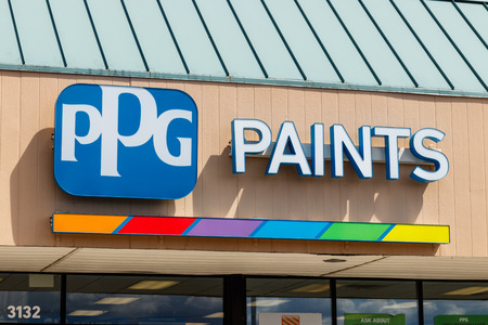 Westfield - Circa July 2018: PPG Paints retail location. PPG Industries, is a supplier of paints, coatings, specialty materials, and fiberglass I