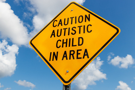 Yellow Caution Autistic Child In Area traffic sign