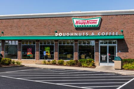 Mishawaka - Circa August 2018: Krispy Kreme Signage and Logo. Krispy Kreme has a loyal following for their doughnuts II