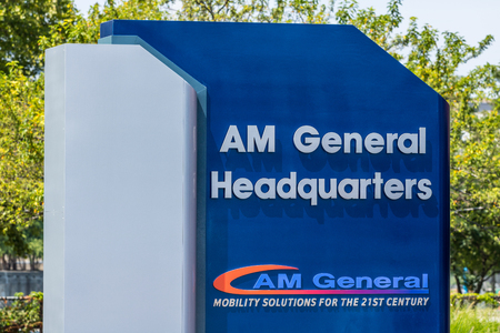 South Bend - Circa August 2018: Global headquarters of AM General. AM General produces and maintains the famed HUMVEE for the military I Sajtókép